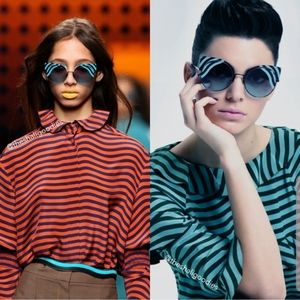 FENDI Hypnoshine Cat Eye Striped Sunglasses
